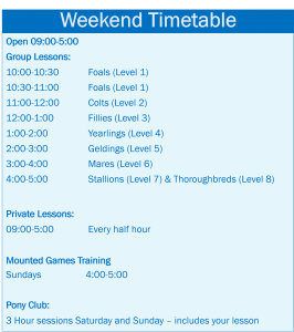 Weekend Timetable 2